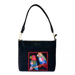 Embroidered Handbag Velvet/Linen-KBA657