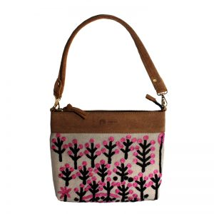 Embroidered Handbag Velvet/Linen-RFL637