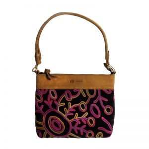 Embroidered Handbag Velvet/Linen-THU607