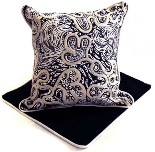 Cushion -Hand Printed & Embroider 16in (41cm)-KKU710